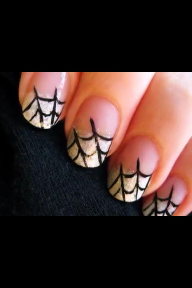 Simple Spider Web Nails Perfect For Halloween Unas Pintadas Faciles Diseno De Unas Con Brillos Disenos De Unas Naturales