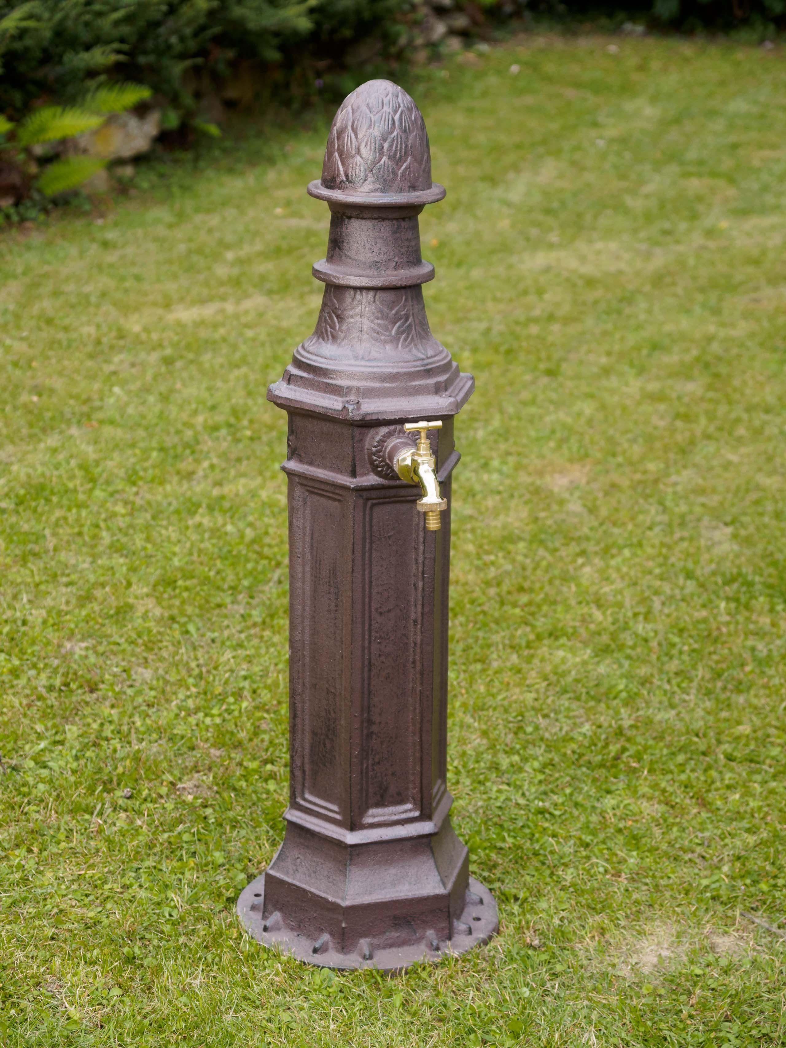 Antyczne materiały budowlane Wyposażenie ogrodów i parków Standbrunnen 80cm Alu braun Brunnen Waschbecken Garten Antik-Stil