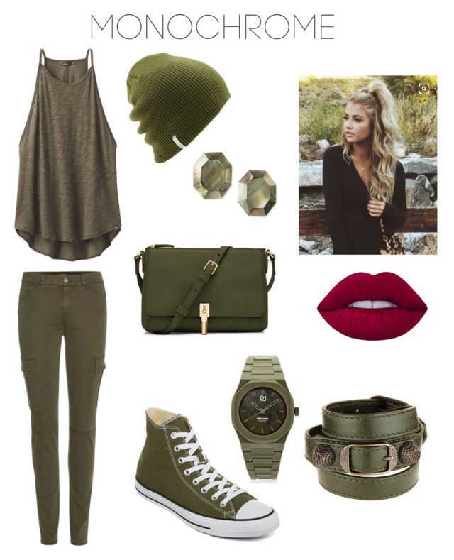 """Green Is The Queen"" by jay-tarren-quinn ❤ liked on Polyvore featuring prAna, 7 For All Mankind, Converse, Elizabeth and James, Coal, Balenciaga, d1 Milano, Viktoria Hayman, Lime Crime and monochrome"