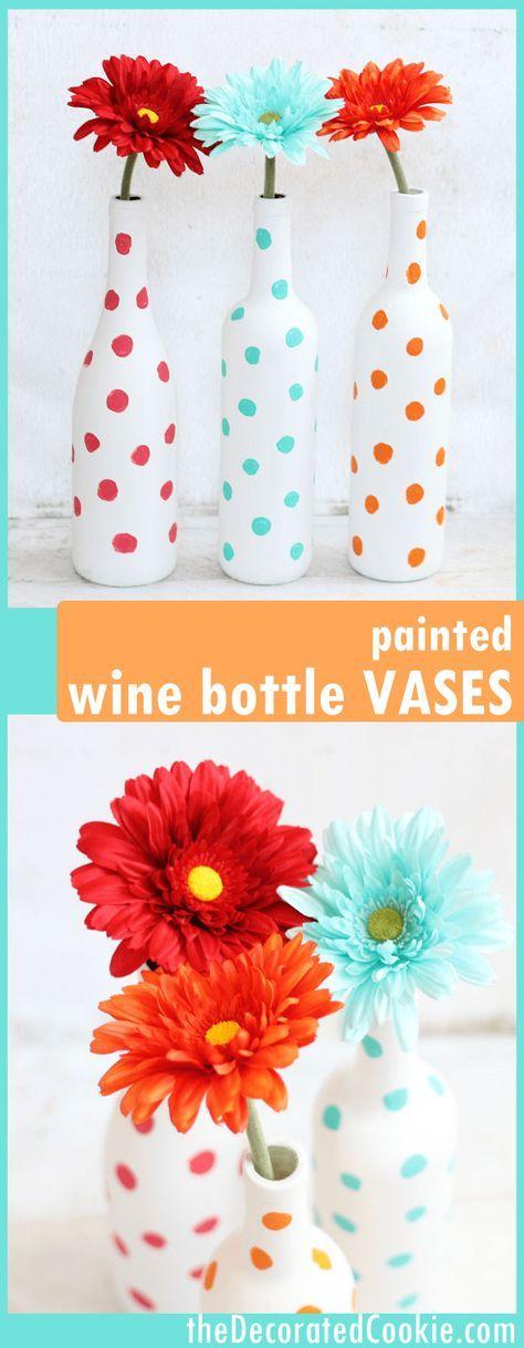 Painted wine bottles polka dot vases an easy DIY home decor craft Painted wine bottles Wine