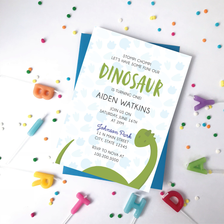 Kid\'s Dinosaur Birthday Invitation - One Year Old Boy or Girl ...
