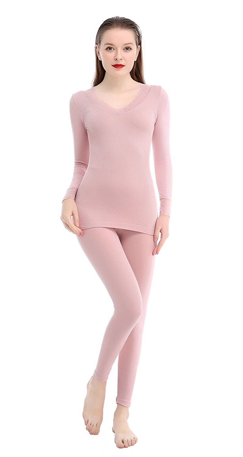Womens Thermal Underwear Set Top /& Bottom Lace