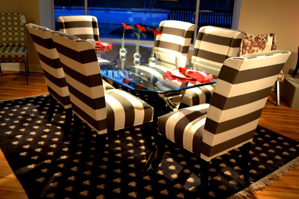 Grey and Ivory horizontal stripe on Hillsdale chairs from – Hillsdale Dining Chairs