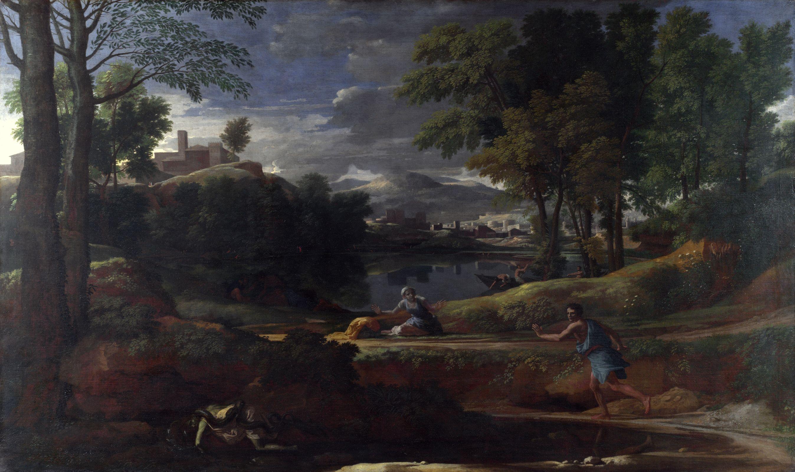Пуссен - Пейзаж с мужчиной, ужаленным змеёй (1648) (Лондон ...