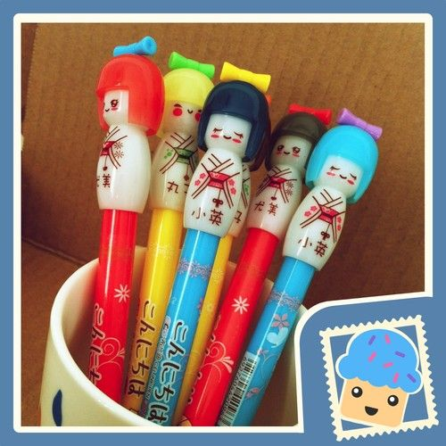 Kokeshi gel pens.  So cute!