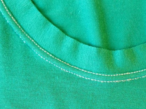 How to sew a neck band on a t-shirt.