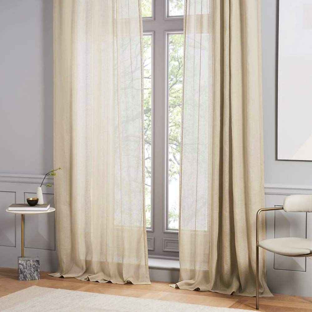 Mrtrees Sheer Curtains Beige 84 Inches Long Living Room Linen Textured Semi Sheers Bedroom Drapes Voile Win Sheer Linen Curtains Linen Curtains Drapes Curtains