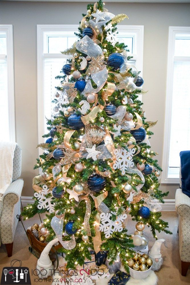 Christmas Tree 2017 - Navy, gold and white Dream Home Pinterest