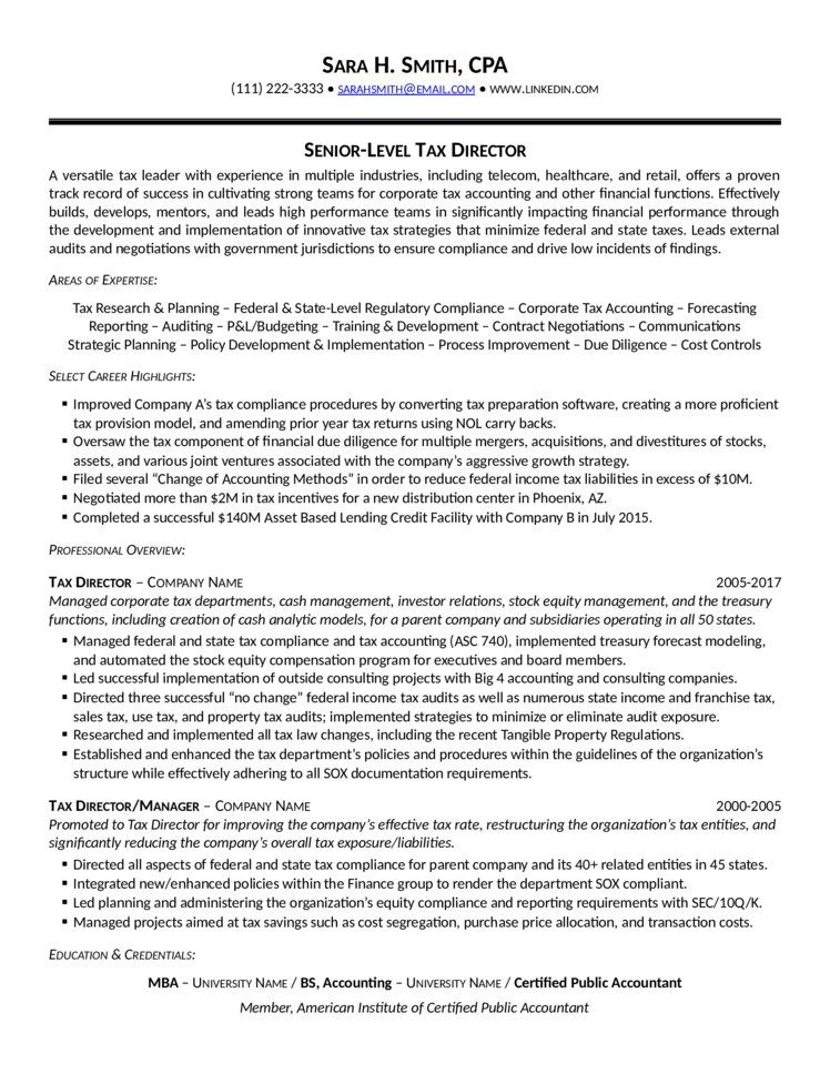 Tax Accountant Resume Tax Director Resume  Tax Manager Resume  Becoming A Tax Manager