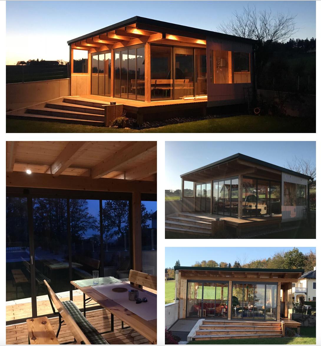 Modernes Gartenhaus mit SchiebeDrehVerglasungen und