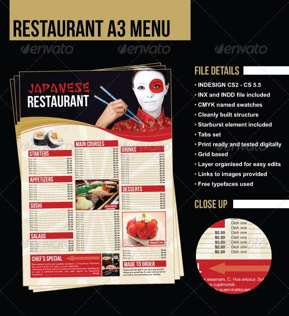 a3 restaurant menu poster japanese example food menu template