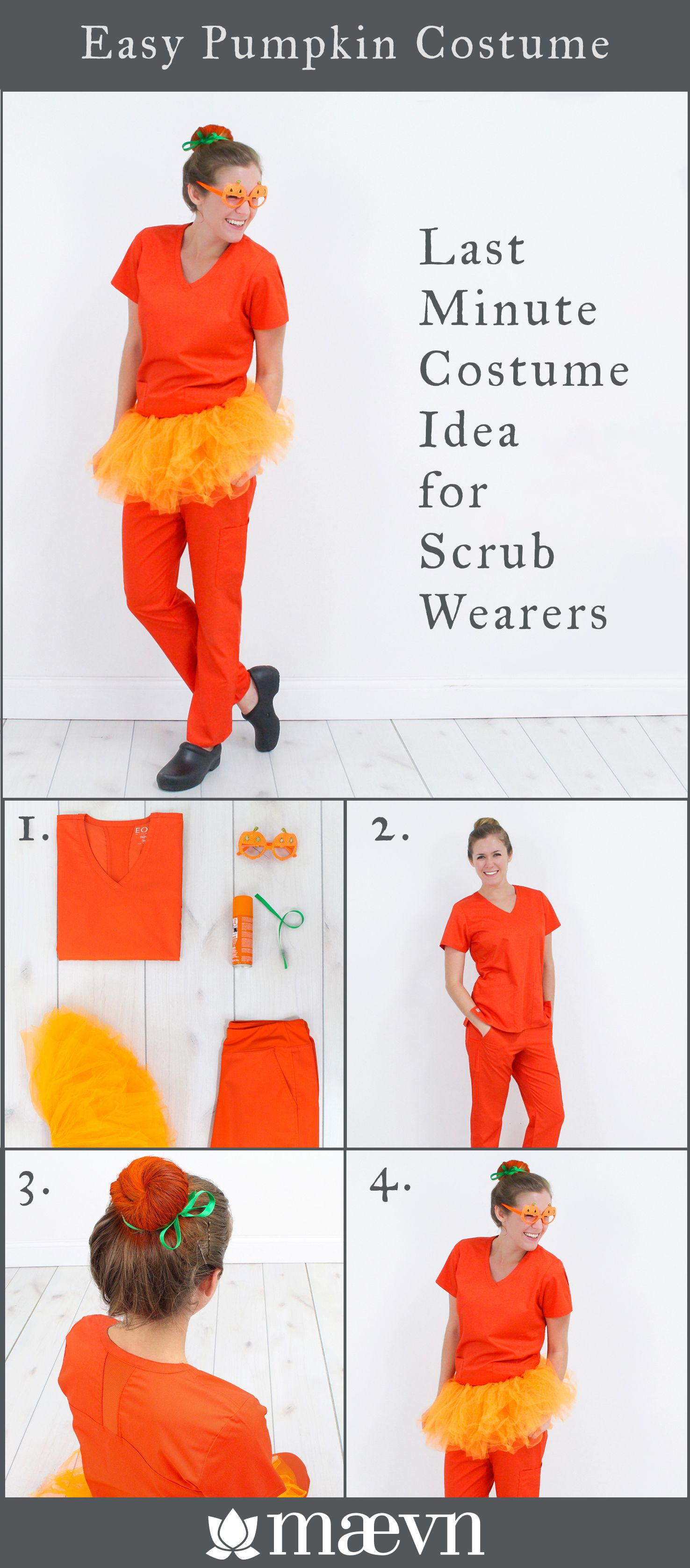 Easy Last Minute Halloween Costume Idea For Scrub Wearers Anyone In The Medical Field Can Halloween Costumes For Work Nurse Halloween Costume Pumpkin Costume