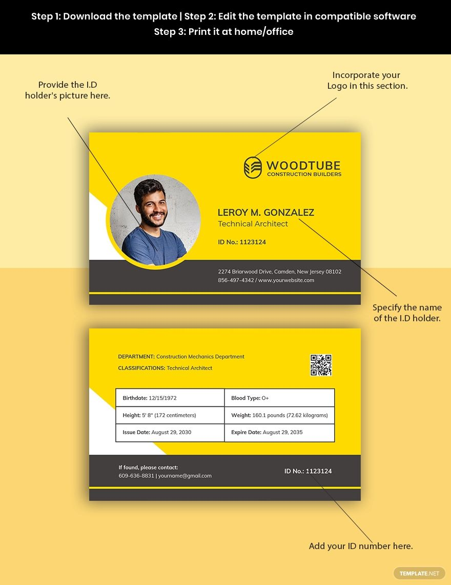 Horizontal Construction Id Card Template Free Pdf Word Psd Apple Pages Illustrator Id Card Template Card Template Templates