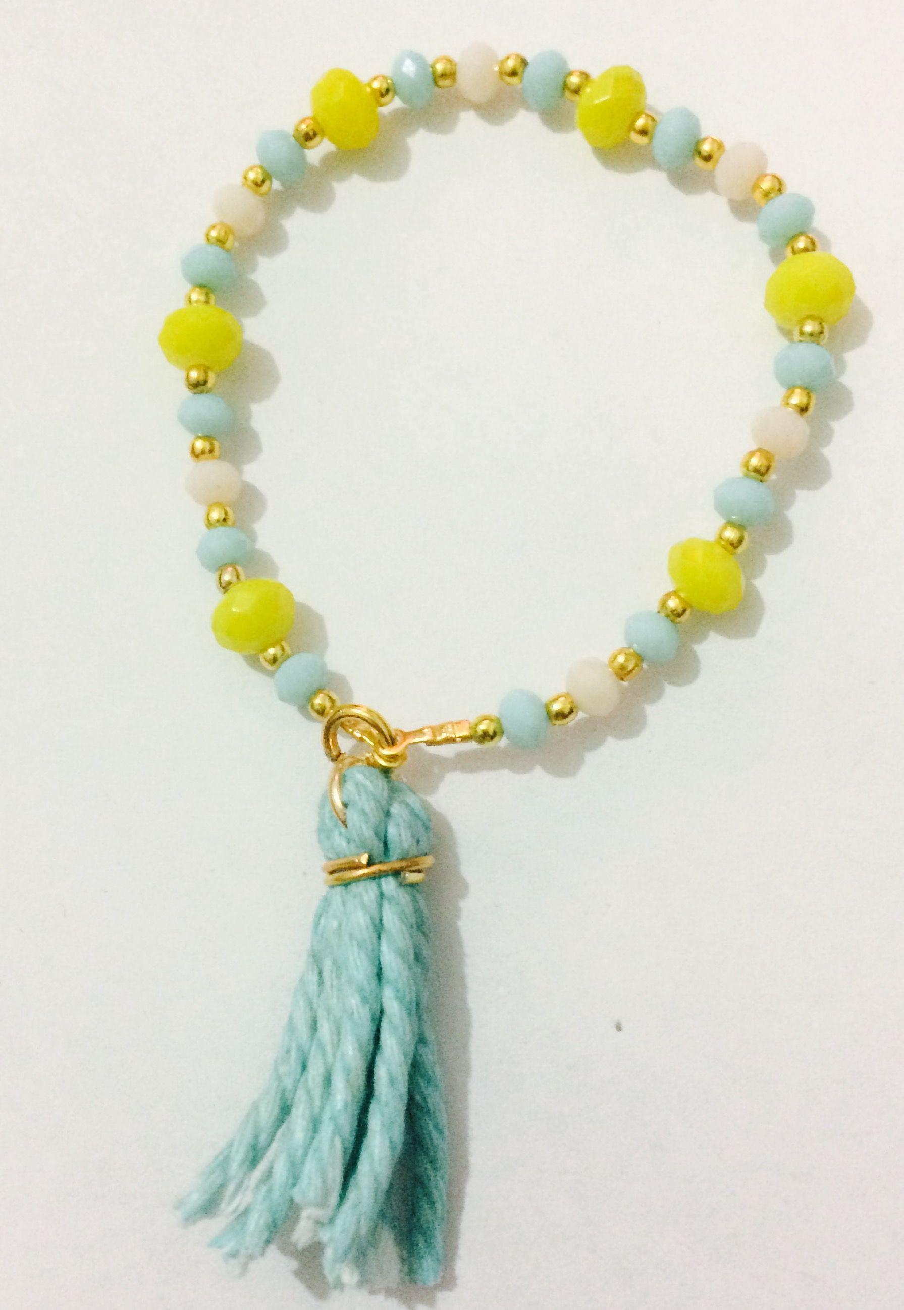 b624ed9485cd Pulsera de cristal azul y amarilla ❤ | Relojes y bisutería ...