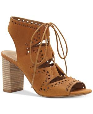 128c0c176a6 Lucky Brand Women s Tafia Block-Heel Lace-Up Sandals - Tan Beige 9.5 ...