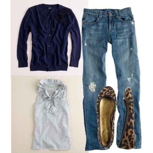 i love animal print shoes, cardigans ruffles and jeans - this is perfect