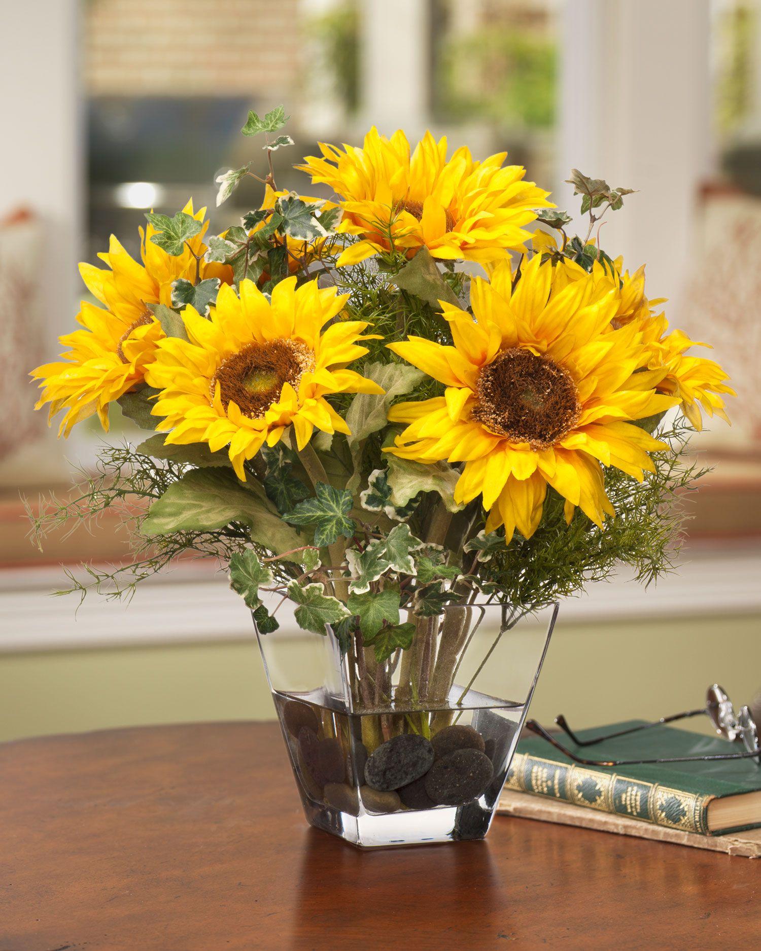 Sunflower Silk Centerpiece Sunflower Arrangements Sunflower Centerpieces Silk Flower Centerpieces
