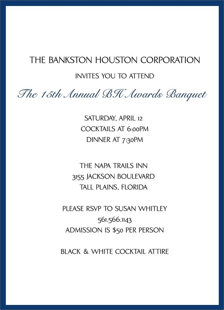 Formal Business Dinner Invitation Template Ctsfashion With
