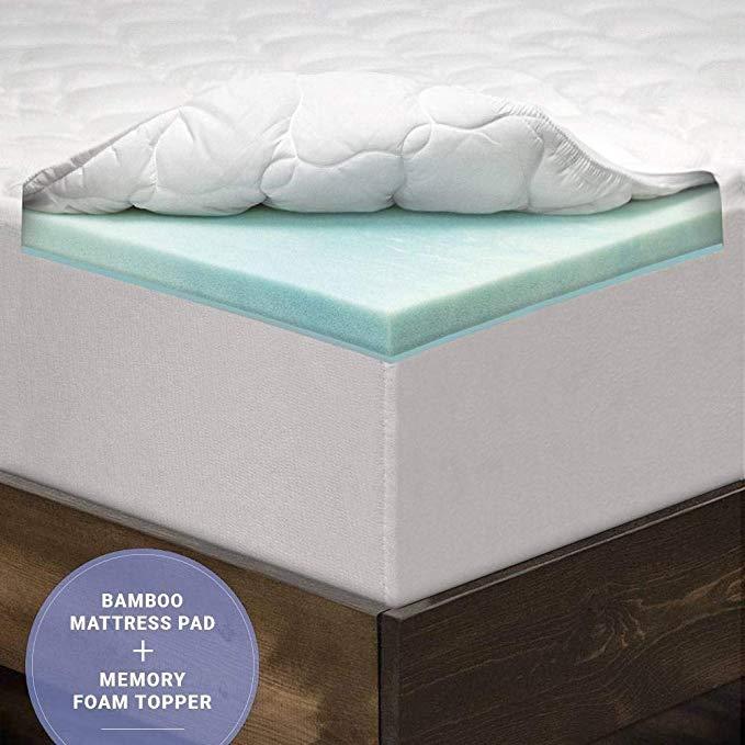 Eluxurysupply 3 Inch Pillow Top Memory Foam Mattress Topper Full Dual Layer Bamboo In 2020 Foam Mattress Topper Memory Foam Mattress Topper Top Memory Foam Mattress