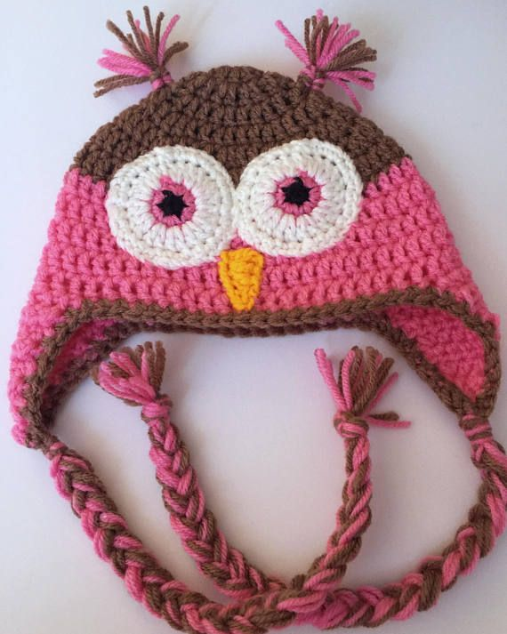 Crochet Owl Hat - Earflap Beanie - Take Home Outfit - Crochet ... d09ad30ccef