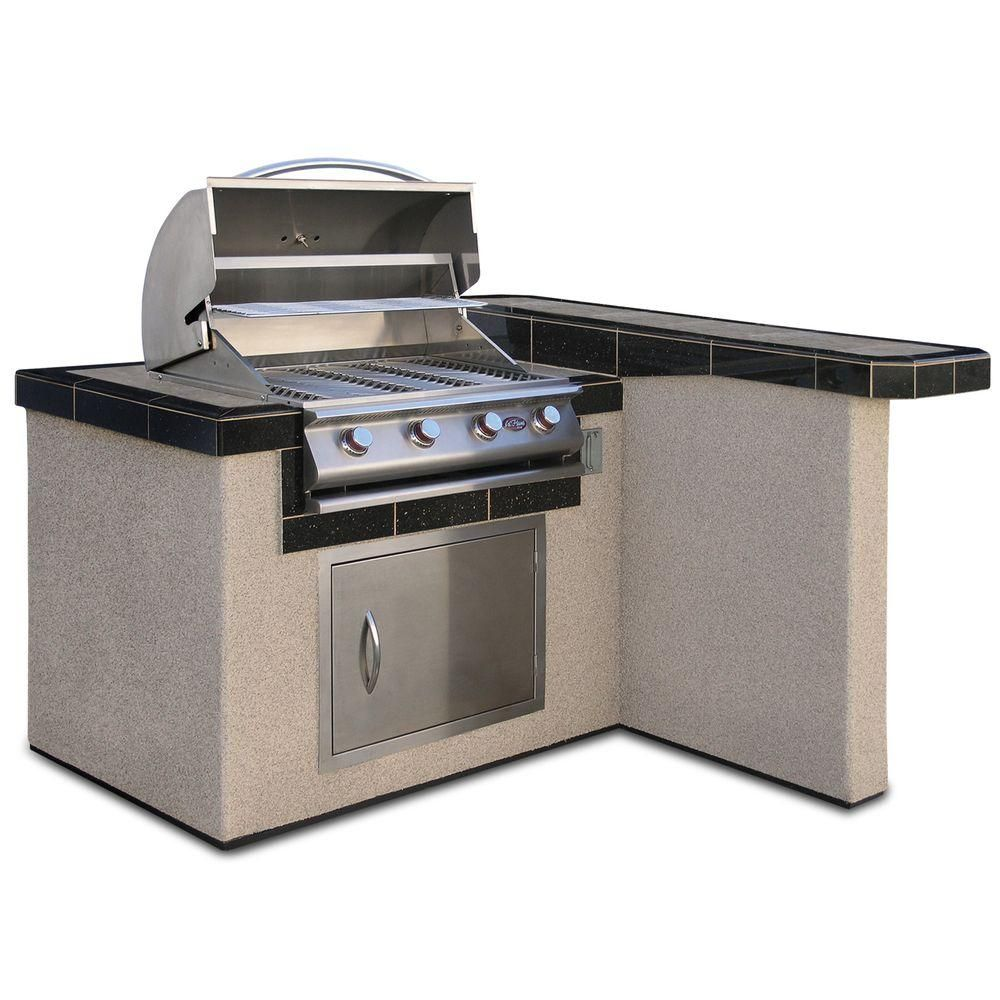 Cal Flame 4 Ft Stucco Grill Island With 4 Burner Stainless Steel Propane Gas Grill Lbk 401r A The Home Depot In 2021 Outdoor Kitchen Island Cal Flame Grill Island
