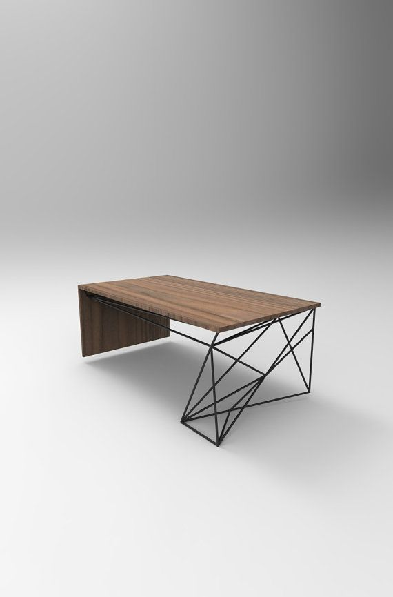 Solid Walnut Coffee Table with Welded Steel Base by PWHFurniture
