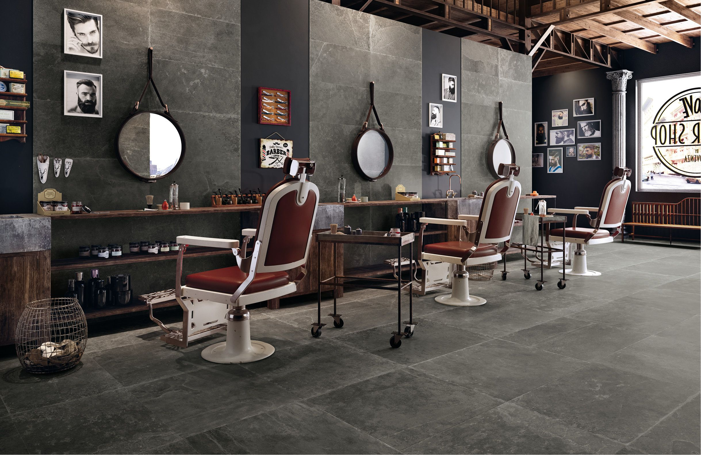 Pin by Plaza Yapı on Beton Görünümlü Seramikler   Barber shop ...