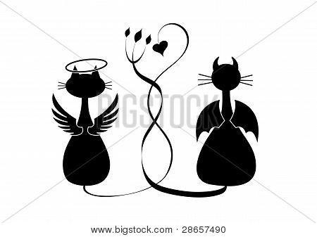 Siluetas De Gatos Enamorados Buscar Con Google Gatito