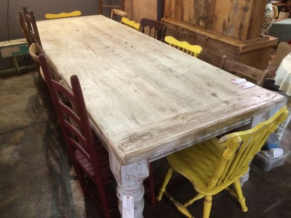 10 Foot Antique Whitewashed Oak Table