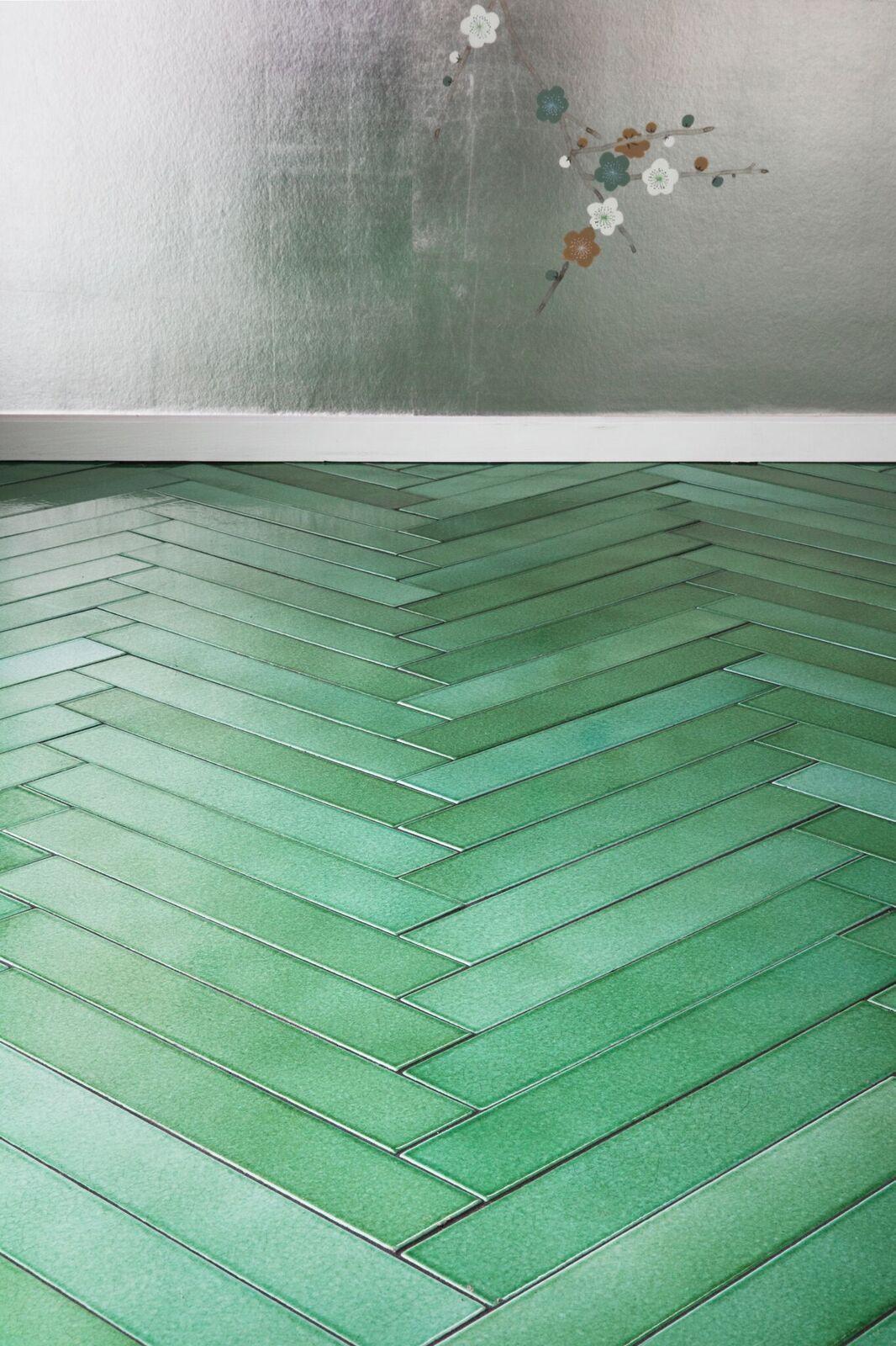 Green Herringbone Lava Stone Floor By Danish Made A Mano Stone Flooring Herringbone Tile Floors Brick Tiles
