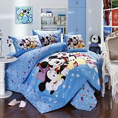 Mickey And Minnie Mouse King Queen Adults Cartoon Bedding Set 4 Pcs Cotton Bed Sheet T14 Family Linens Doon Bedding Set Queen Bedding Sets Minnie Mouse Bedding