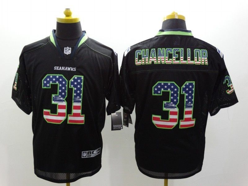 65800f7219f Seattle Seahawks 31 Chancellor 2014 New Nike USA Flag Fashion Black Elite  Jerseys