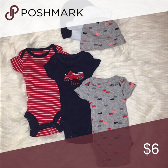 Baby boy premie Premie bodysuits with hats, never worn One Pieces Bodysuits