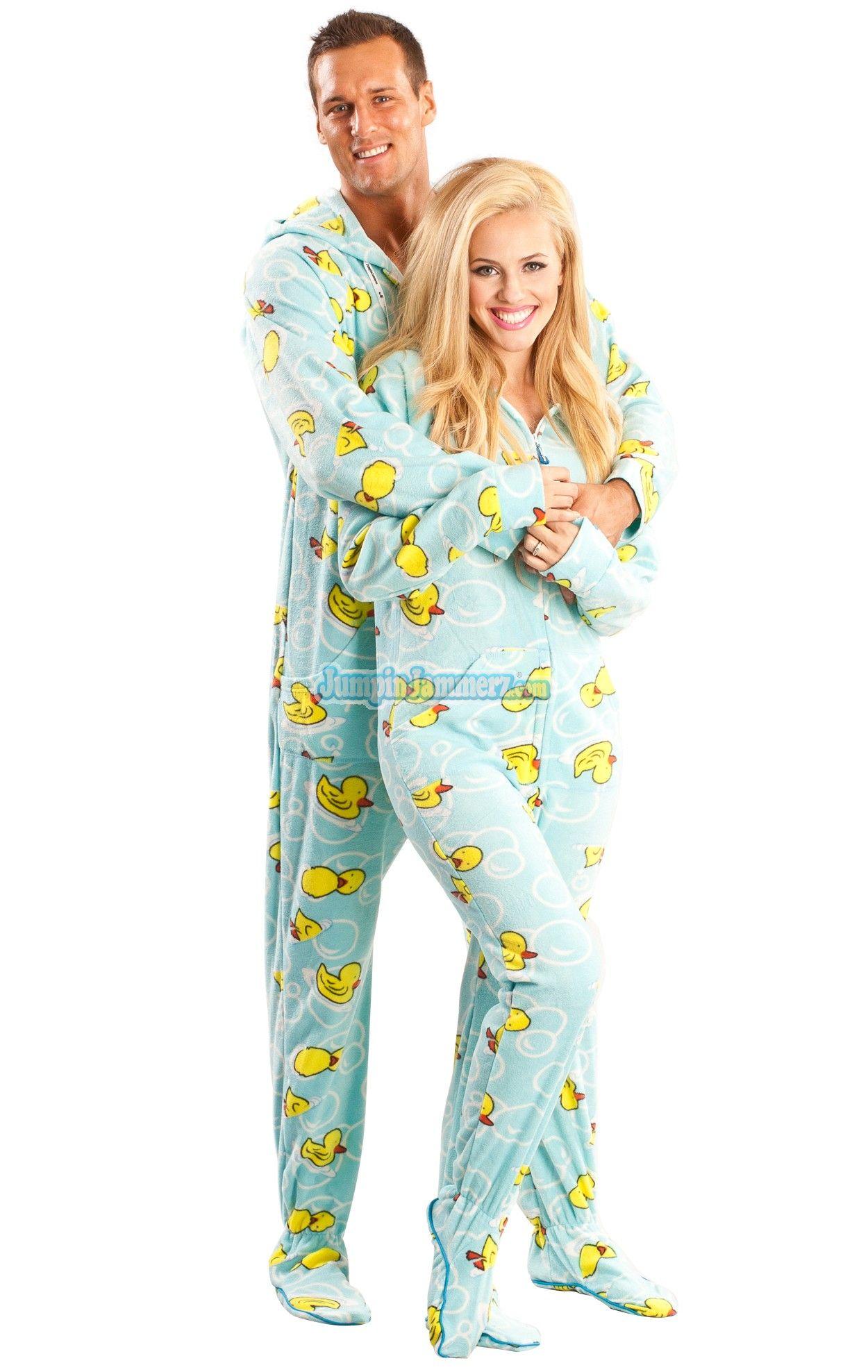 Blue Ducks Hooded Footed Pajamas. These fun one piece pyjamas ...
