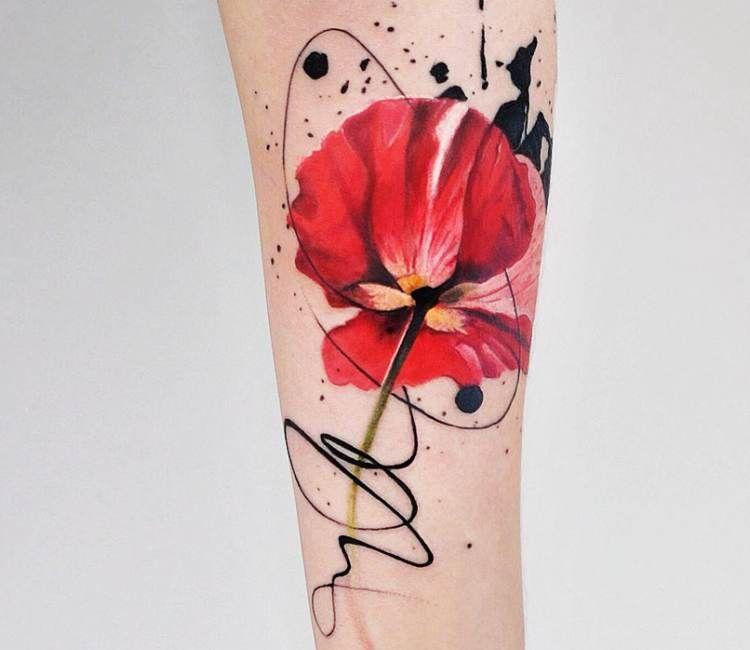 Flower Tattoo By Aleksandra Katsan Best Tattoos Watercolor Poppy