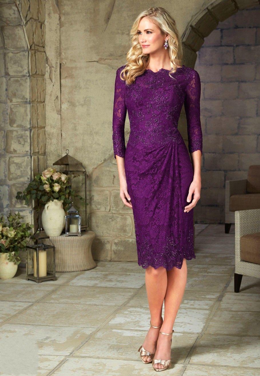 El envío gratuito 2016 púrpura elegante madre corta de los vestidos de novia de encaje longitud de la rodilla Con tres cuartos de la madre del vestido de noche
