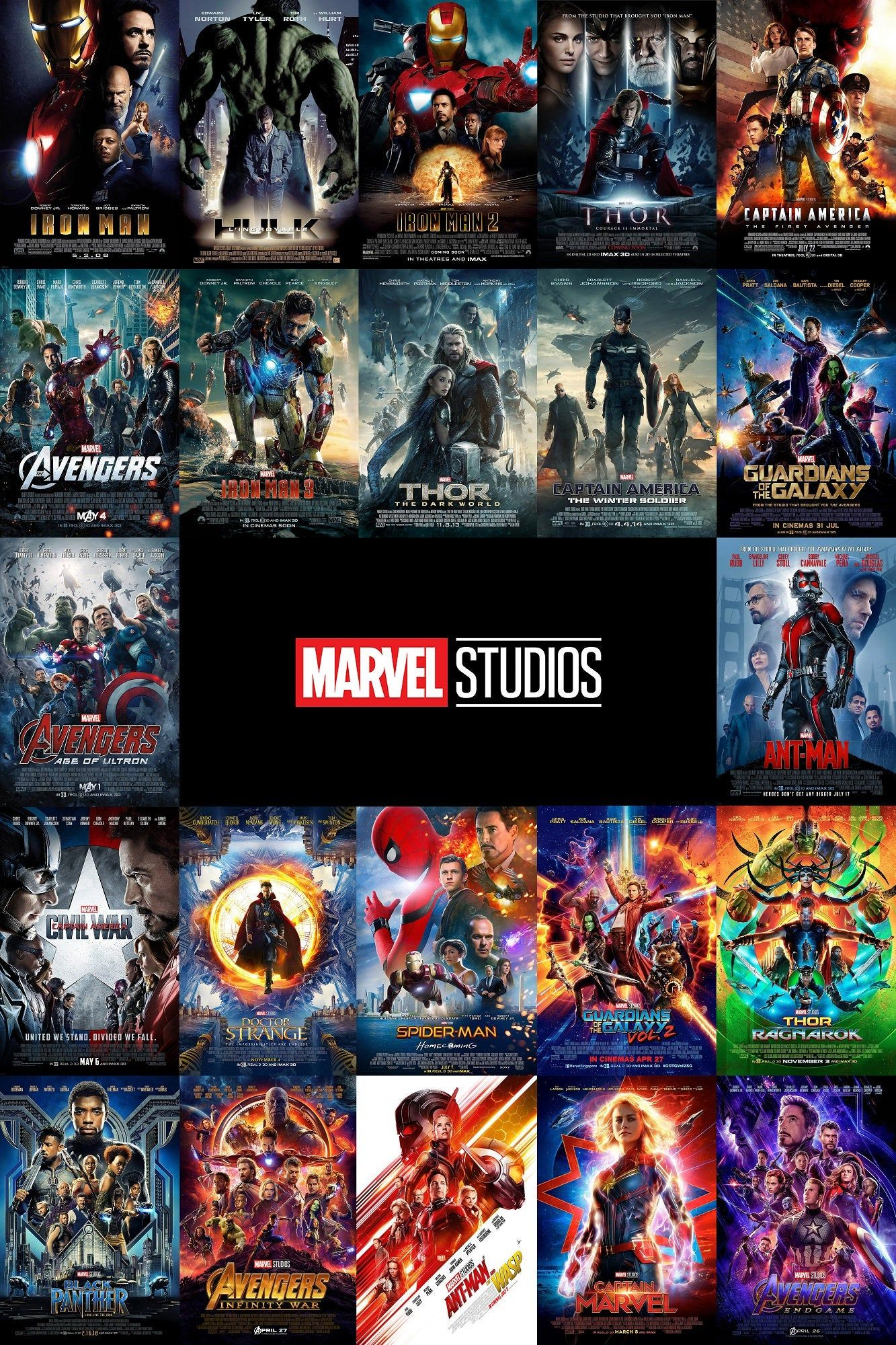 All Marvel MCU Phase 1, 2, 3 Posters All N 1 Canvas Print