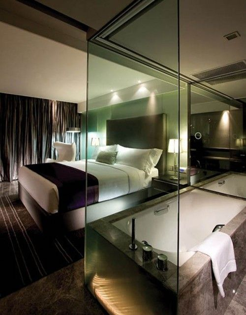 Impressive Hotel Style Bedroom Combined With A Bathroom bd05cab020