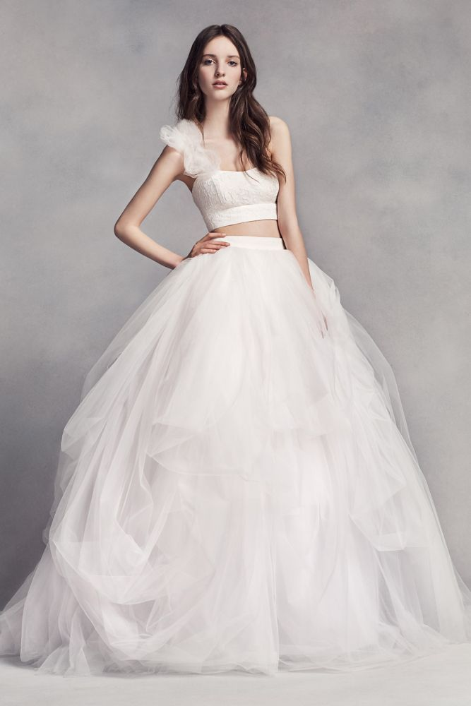 New Made for the fashion forward bride this classic tossed tulle ball gown skirt is the perfect match for the coordinating floral lace one shoulder crop top