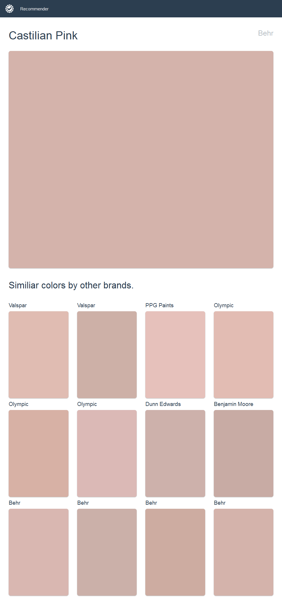 Castilian Pink, Behr. Click the image to see similiar colors by ...