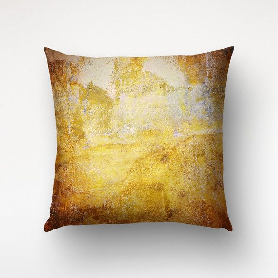 Rusty Golden Paint Texture Throw Pillow  Abstract by Macrografiks