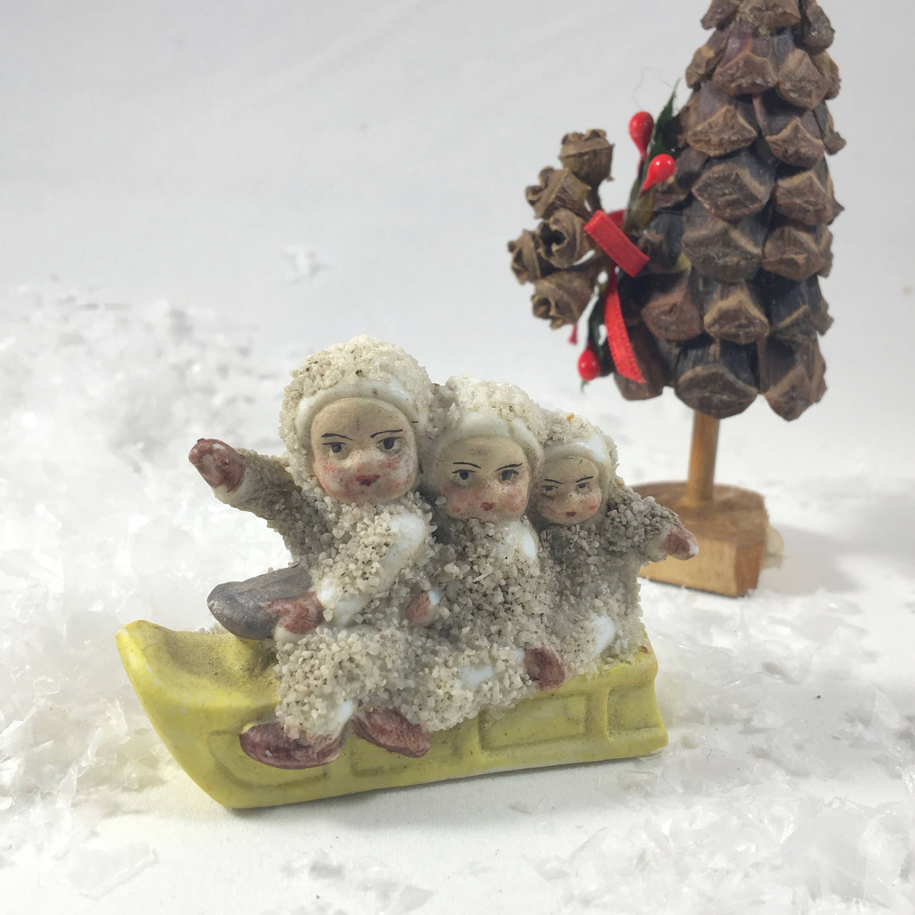 Antique snow babies on sled ~ early 1900s putz figurines ...