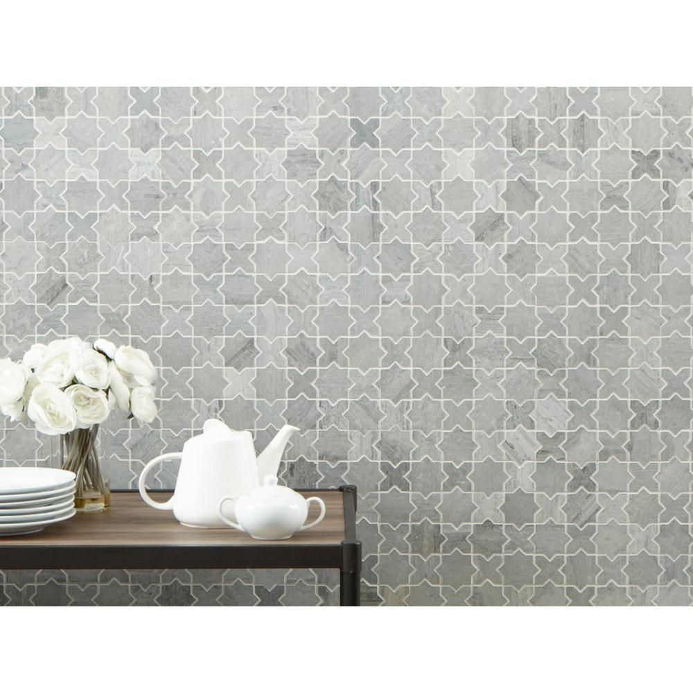 Valentino Azul Jigsaw Marble Mosaic Marble Mosaic Mosaic Tile