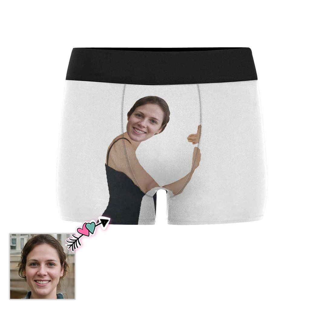 Custom Face Boxers Personalized Mens Boxer Briefs Shorts Printed with Multi Girlfriend Face Photo Funny Gift for Boyfriend