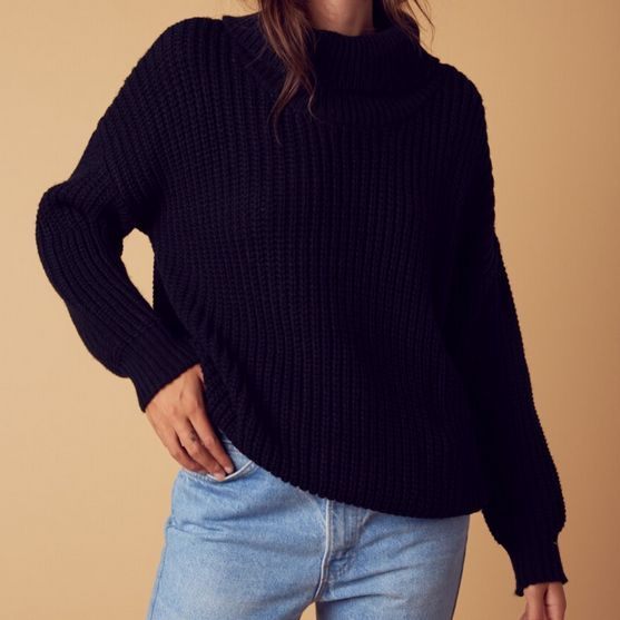 citrus oversize sweater - black - shophearts - 1