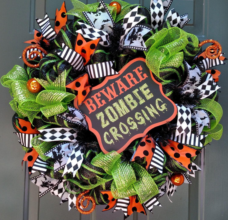 Halloween Wreath, Zombie Wreath, Walking Dead, Front Door Wreath - halloween front door decor