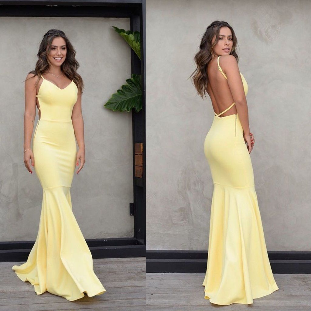 Charming yellow backless prom dress mermaid spaghetti straps satin