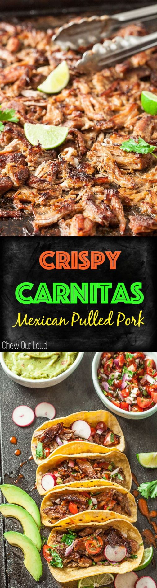 Pork Carnitas {Slow Cooked Mexican Pulled Pork} - SOOO tender mouthwatering crispy and make the best...