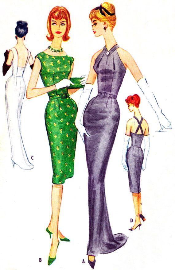 1960s McCalls 5618 Halter Neck Evening Dress with Train Sheath Dress ...