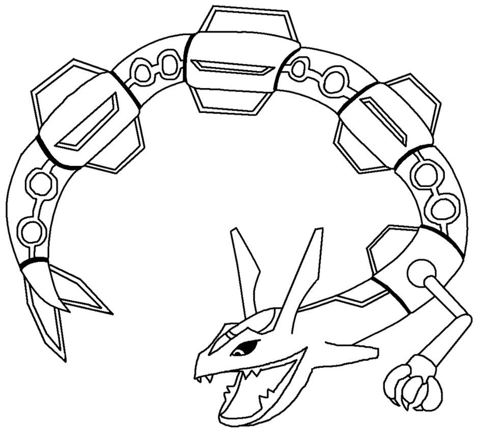 Pokemon coloring pages mega rayquaza - Mega Pokemon Rayquaza Coloring Pages